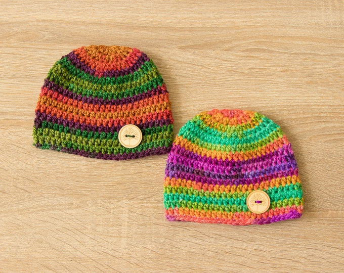 Ready to ship - Preemie twin hats - Rainbow Baby Hats - Crochet hats - Baby Hats - Newborn hats - Twin Baby Gift - Preemie hats 5 to 6 lbs