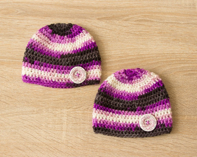 Preemie girl hats, Crochet baby girl hats, Baby girl beanies, Preemie twins, Baby girl twins, Newborn hats, Twins baby gifts, Ready to ship
