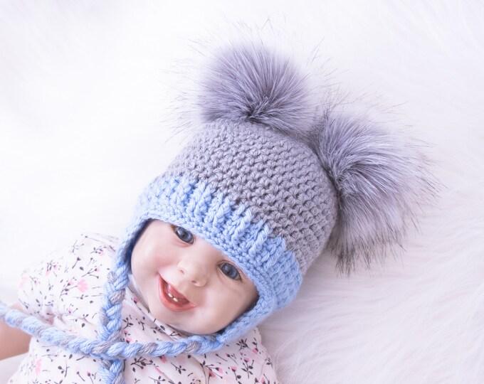 Double Pom Pom Hat, Baby boy hat, Baby hat, Earflap hat, Crochet Newborn hat, Toddler boy hat, Winter hat with ear flaps, Baby boy gifts