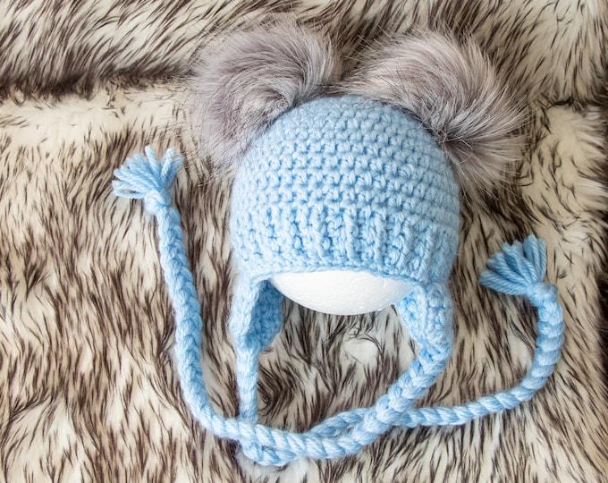 Blue hat, Baby boy hat, Double Pom Pom Earflap Hat, Baby hat, Crochet Newborn hat, Toddler hat, Baby Winter hat, Baby boy gift, Preemie hat