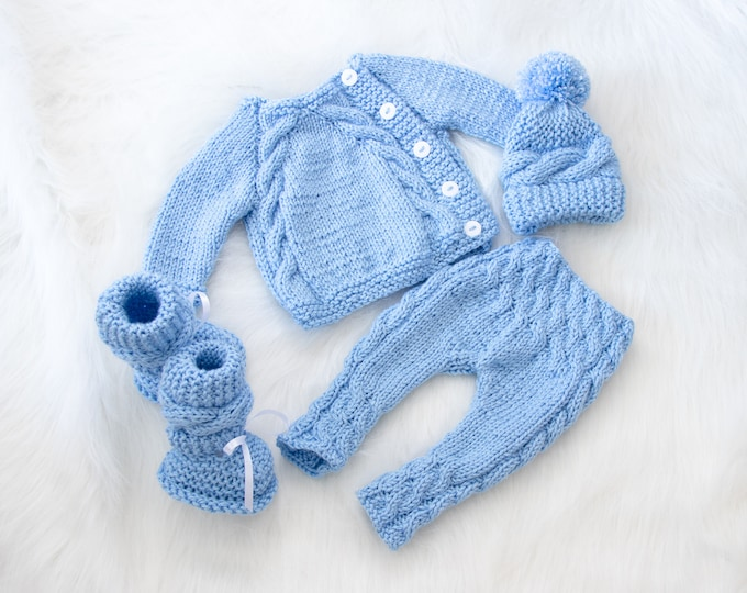 Knitted Baby boy coming home outfit - Knit Baby Outfit - Knitted baby clothes - Baby boy take home outfit- Newborn boy gift- Baby boy winter