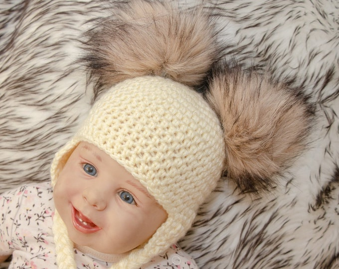 Double pom hat - Newborn hat - Baby hat - Boy or girl - Crochet baby hat - Fur pom pom - Baby earflap hat - Toddler hat - gender neutral