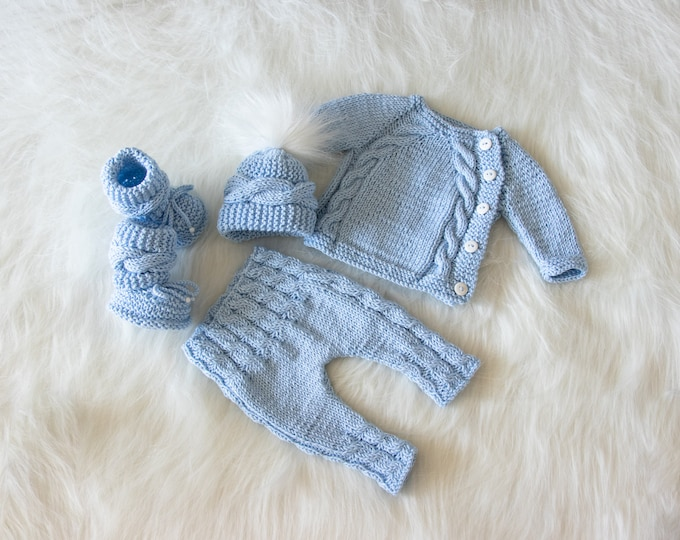 Newborn boy coming home outfit, Baby blue outfit, Hand Knit Newborn take home outfit, Knit baby clothes, Baby winter clothes, Ready to ship