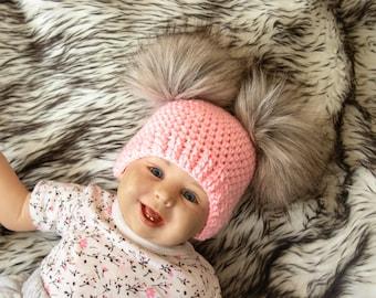 03acec7f939 Baby girl double pom pom beanie - Fur pom pom beanie - Pom pom hat - Newborn  girl hat - Pink Winter hat - Baby Hat - Kids hat - Baby beanie