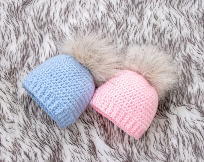 Boy and girl fur pom pom hats, Twins Baby Hats, Twin Coming Home Hats, Blue and pink Newborn beanies, Preemie twins hats, Expecting mom gift