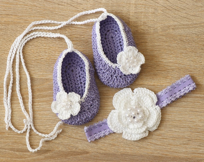 Purple Baby girl shoes and headband set - Ballerina Shoes - Baby headband - Mary Janes - Flower headband - Baby girl gift - Purple and white