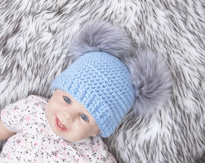 Pink Baby boy fur double pom pom beanie, Pom pom hat, Newborn boy hat, Baby boy Winter hat, Baby Hat, Newborn boy beanie, Preemie beanie