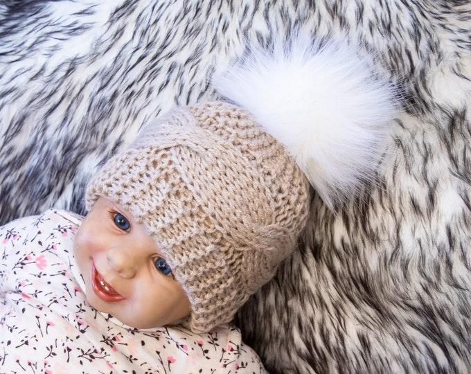 Beige pom pom hat, Cable Knit hat, Kids hat, Baby winter hat, Fur pom hat, Knitted winter hat, Hand knit Hat, Newborn hat, Gender neutral