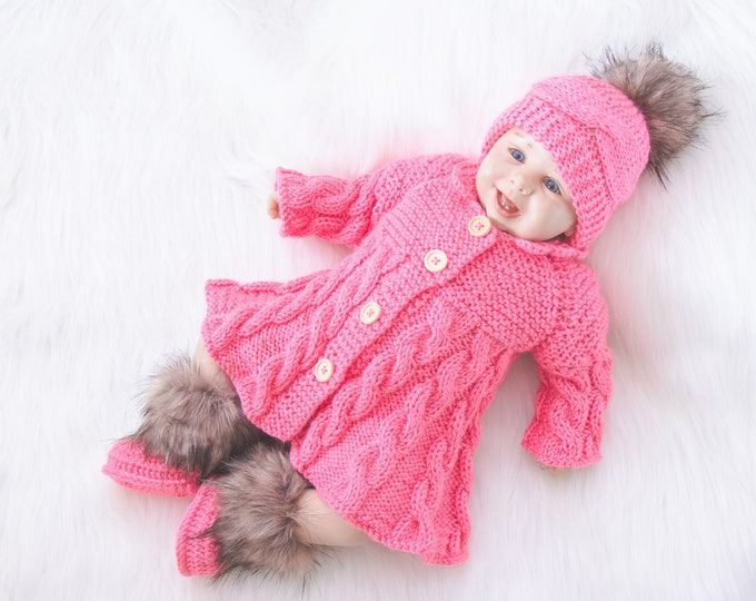 0-3m Raspberry pink baby girl coming home outfit, Hand Knitted Baby girl winter clothes, Baby girl outfit, Baby home coming, Ready to ship