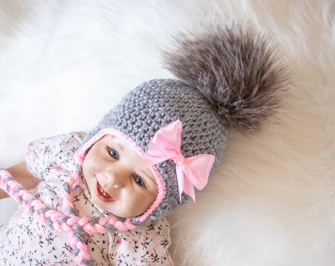 Gray and pink Baby girl hat, Pom pom hat, Girls Winter hat, Crochet baby girl hat, Newborn Earflap hat, Baby girl gift, Preemie girl clothes