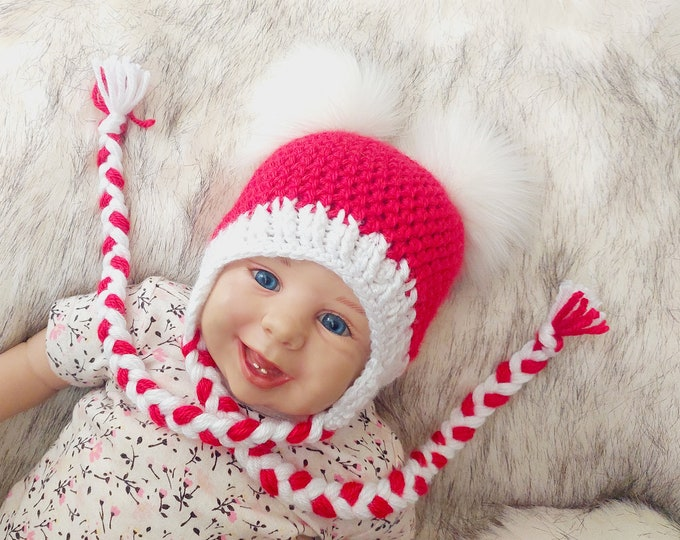 Red and white crochet Baby girl Double Pom Pom Hat, Newborn girl hat, Toddler girl hat, Winter hat, Baby Christmas hat, Christmas Photo prop