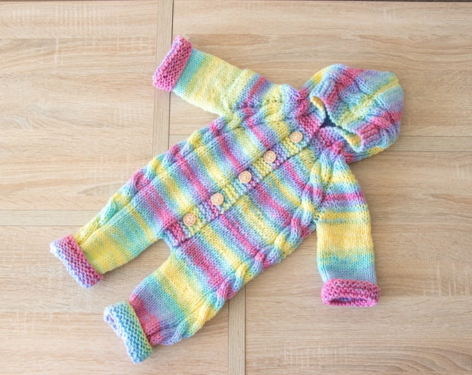 Ready to ship - Rainbow baby jumpsuit - Hooded jumpsuit - Hand knitted baby outfit - Baby overall- Baby knitwear- Baby romper- Knit jumpsuit