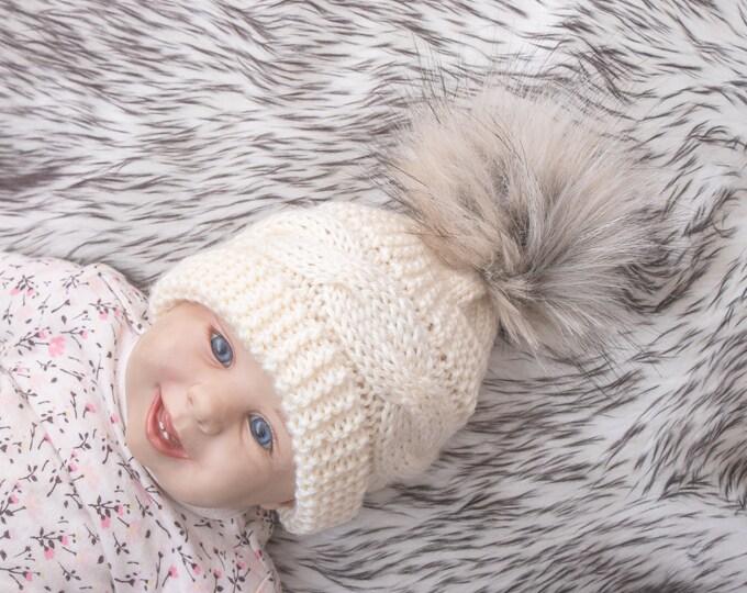 Beige fur pom pom beanie, Cable Knit hat, Cream baby hat, Toddler hat, Knitted winter hat, Hand knit baby Hat, Gender neutral Newborn hat