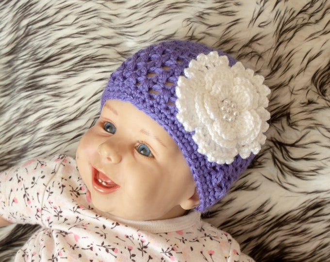 Purple Baby Hat - Baby girl hat - Baby beanie - Crochet Baby hat - Flower Hat - Newborn Girl Hat  - Baby Girl Beanie - Baby Girl Clothes