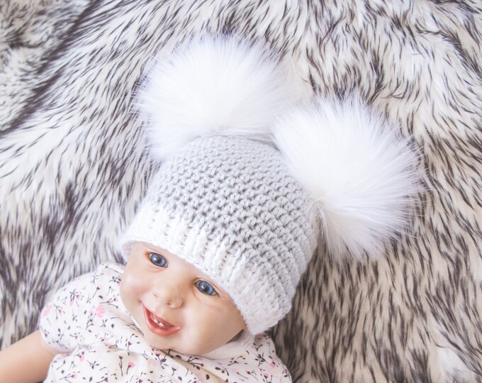 Gray pom pom hat, Faux fur double pom pom beanie, Preemie hat, Winter hat, Toddler beanie, Bobble hat, Newborn beanie, Unisex Adult beanie