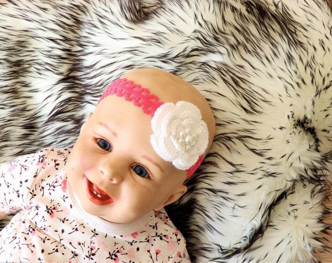 Flower Headband - Baby Girl flower Headband -Crochet headband - Baby girl gift- Newborn Headband - Baby shower gift - Infant headband