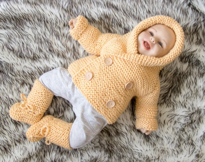 Ready to Ship - Hand knitted Hooded Baby Jacket and booties - Baby Cardigan - Baby boots - Breasted baby coat- Baby Sweater- Gender neutral