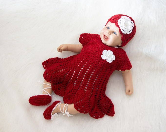 0-3 m Red crochet baby dress, shoes and hat with flowers, Baby Dress Set, Newborn summer clothes, Baby girl summer outfit, Ready to ship