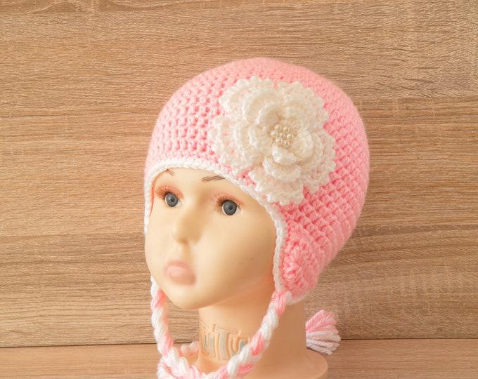 Pink Baby hat - Baby girl hat - Crochet flower hat - Kids hat - Newborn girl hat - Earflap hat- Baby gift- Toddler girl hat- Baby winter hat