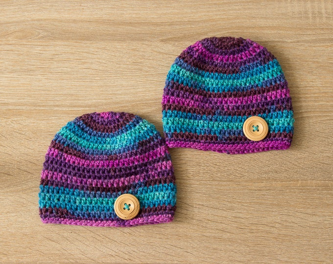 Ready to ship - Twin Newborn hats - Twin Hats - Colorful baby hats - Crochet Baby Hats - Twin photo prop - Twin Baby Hats - Twin Baby Gift