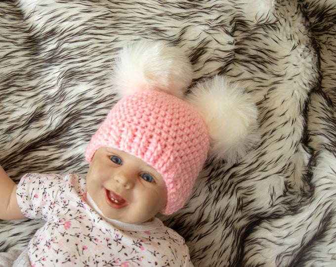 Baby girl double pom pom hat- Fur pom pom beanie - Pom pom hat - Newborn girl hat - Pink Winter hat - Baby girl Hat - Kids hat - Baby beanie
