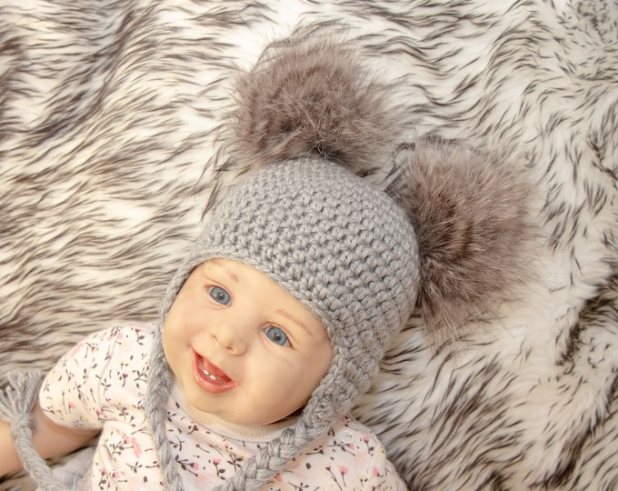 a0c96b12d8f Double Pom Pom Hat - Baby pom pom hat - Gray Baby hat - Baby Earflap