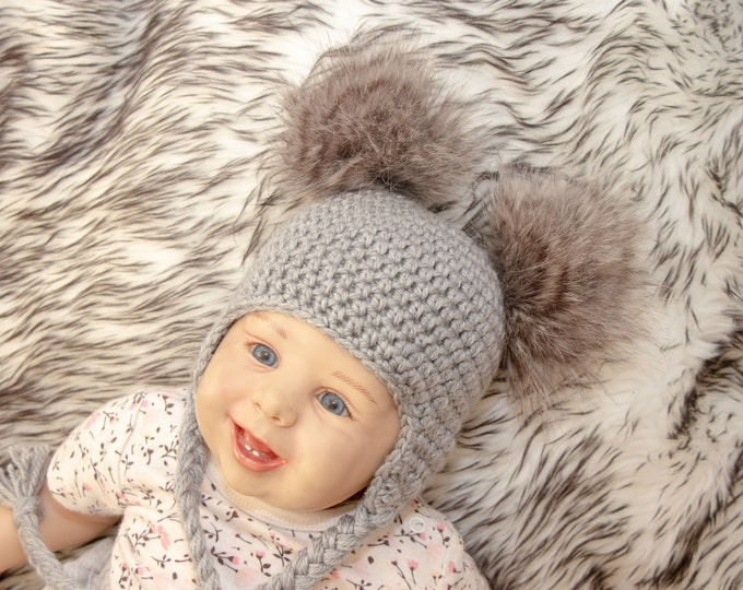 Double Pom Pom Hat - Baby pom pom hat - Gray Baby hat - Baby Earflap hat- Crochet Newborn hat- Faux fur pom pom- Gender neutral- Toddler hat