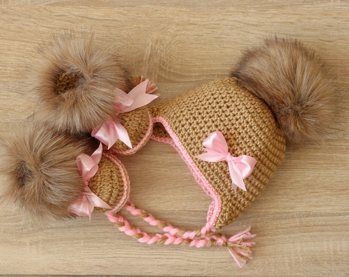 Baby girl fur hat and booties with bows - Brown and pink - Newborn Girl clothes - Baby winter clothes - Baby girl gift- Preemie girl clothes