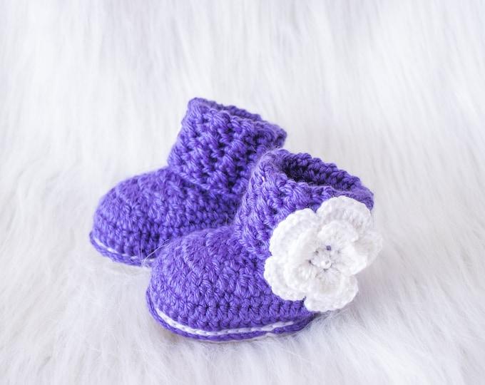 Purple baby booties, Baby girl booties, Flower Baby Booties,  Baby girl gift, Newborn girl shoes, Crochet baby booties, Preemie girl boots