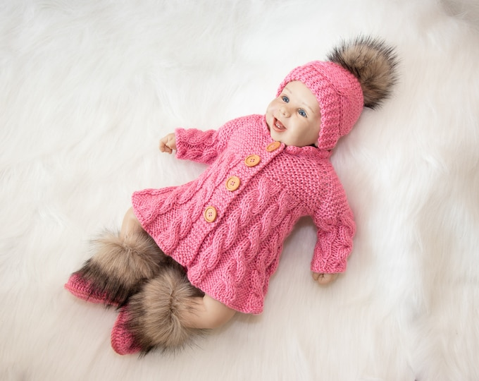 Raspberry pink baby girl coming home outfit, Hand Knitted Baby girl winter clothes, Baby girl outfit, Newborn girl outfit, Baby home coming