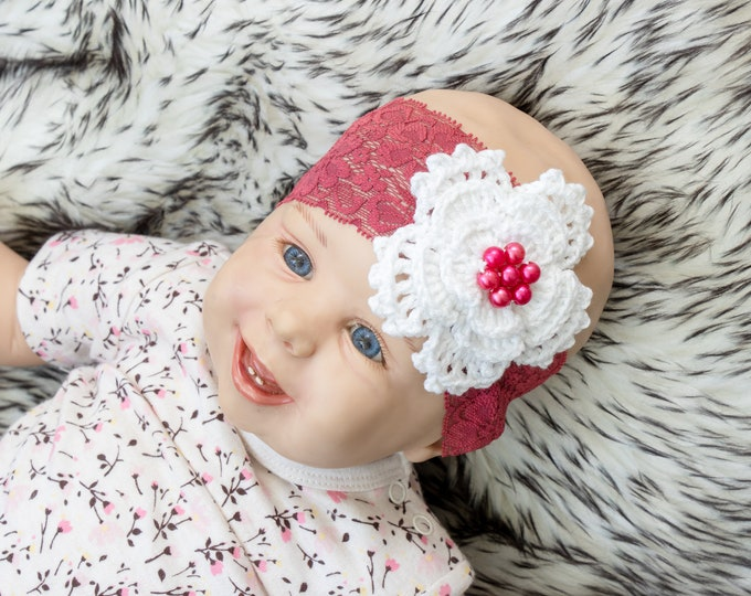 0-3m Wine Red Baby Headband, Crochet headband, Flower headband, Baby Head Wrap, Burgundy Headband, Baby shower gift, Crochet flower headband