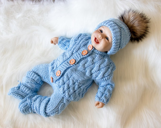 0-3 months Baby boy coming home outfit, Blue outfit, Hand Knit baby clothes, Newborn take home outfit, Baby winter clothes, Ready to ship