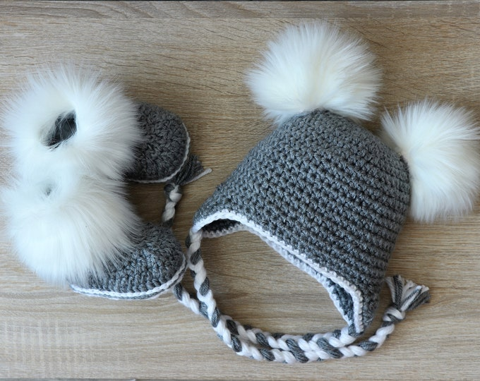 Double pom pom hat and boots - Gray Booties and hat set - Crochet baby clothes - Newborn winter clothes - Fur booties - Gender neutral baby