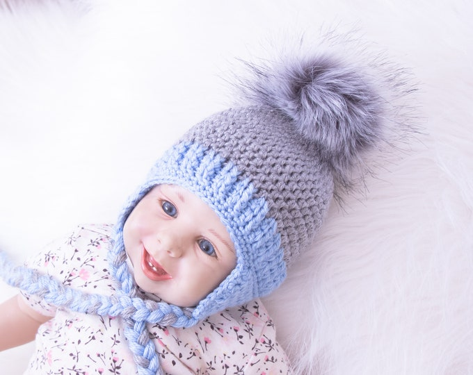 Baby Boy fur Pom pom hat, Infant hat, Baby earflap hat, Crochet baby hat, Newborn boy hat, Faux fur pompom, Baby winter hat, Baby boy gift
