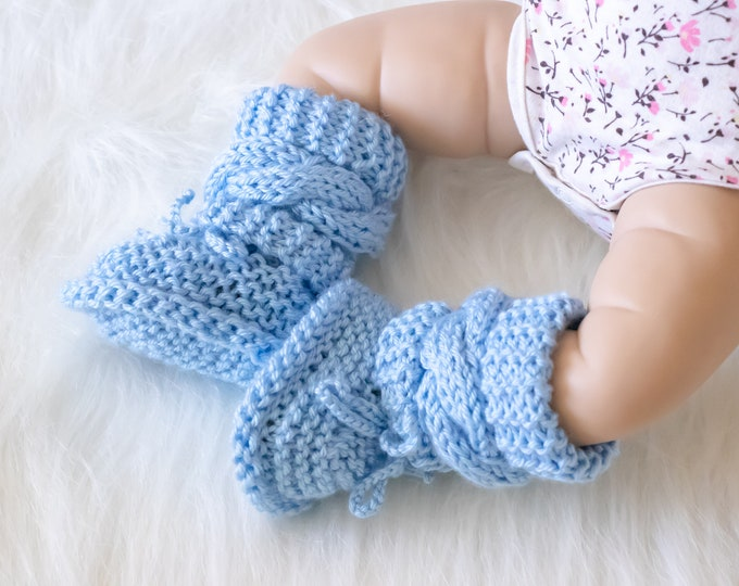 Hand knitted baby boy booties, Blue baby booties, Newborn boy boots, Baby boy gift, Infant shoes, Cable knit booties, Newborn booties