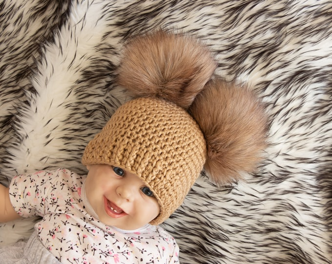 Double pom pom beanie - Fur Pom pom hat - Gender neutral baby hat - Winter hat - Baby Hat - Kids hat - Baby beanie - Crochet baby hat