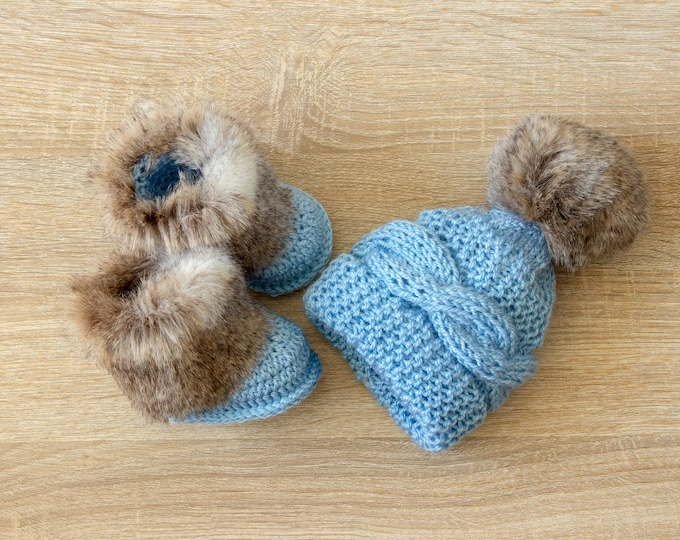 Baby Boy hat and booties set, Knitted baby clothes, Baby hat, Fur booties, Hand Knitted hat, Crochet Booties, Hat and Boots, Baby boy gift