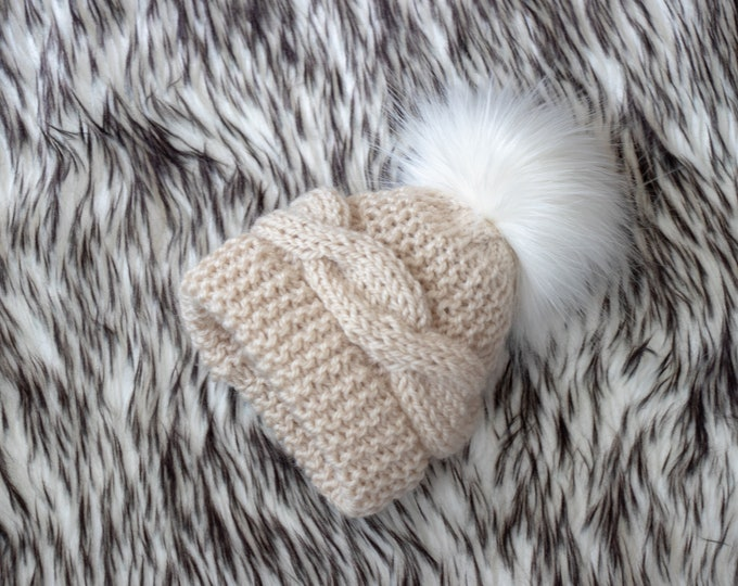 Beige pom pom hat, Cable Knit hat, Kids hat, Baby winter hat, Fur pom hat, Knitted winter hat, Hand knit Hat, Newborn hat, Gender neutral