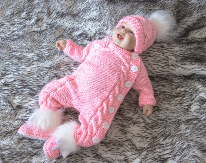 Pink Baby girl home coming outfit,  Hand knitted Jumpsuit set, Overall, hat and booties set, Newborn girl take home outfit, Baby girl gift