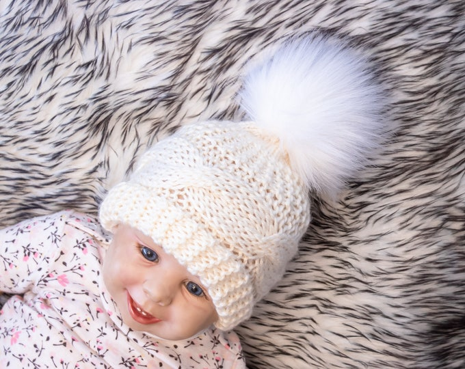 Cream pom pom hat, Cable Knit hat, Kids hat, Baby winter hat, Fur pom hat, Knitted winter hat, Hand knit Hat, Newborn hat, Gender neutral