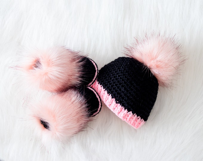 Black and pink baby girl booties and hat, Baby girl winter clothes, Crochet Baby Set, Newborn girl Hat and Booties set, Preemie girl clothes