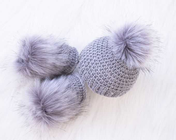 Gray Baby Booties and hat, Crochet Baby Set, Baby announcement, Gender Neutral baby clothes, Unisex baby, Fur pom hat, Fur booties, Infant