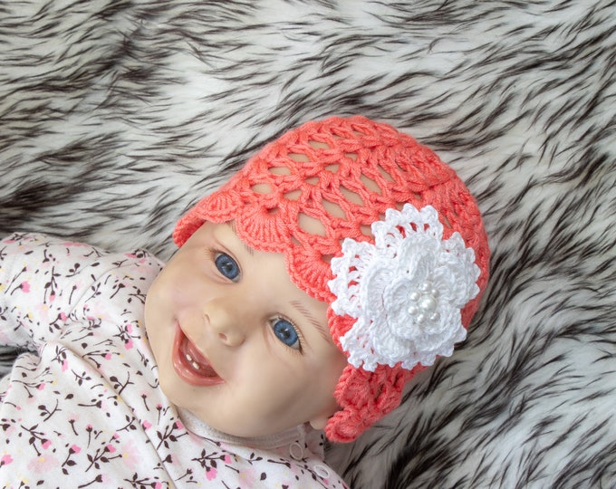 0-3 Months Coral Baby girl Hat, Crochet newborn girl beanie, Baby flower hat, Flower Beanie, Baby Summer hat, Sun beanie, Ready to ship