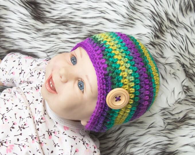 0-3 months Unisex baby hat, Gender neutral baby hat, Colorful Baby hat, Crochet Baby beanie, Newborn beanie, Newborn hat, Ready to ship