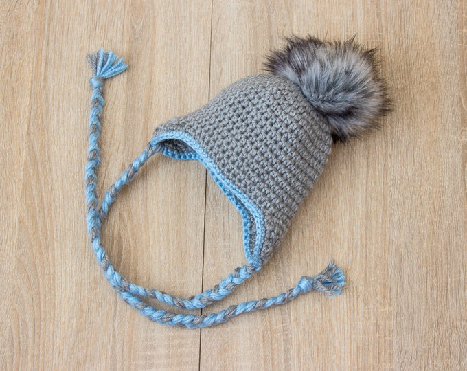Gray Baby Boy hat with fur Pom pom - Baby earflap hat - Crochet baby hat - Newborn boy hat - Faux fur pompom - Baby winter hat - baby gift