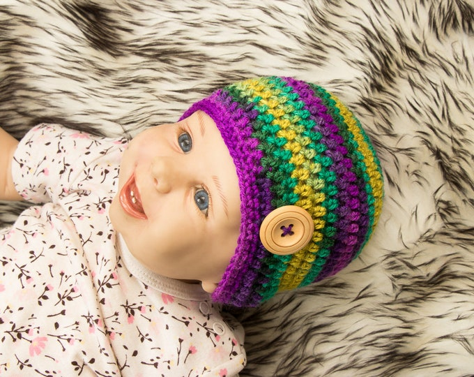 0-3 months Unisex baby hat, Gender neutral baby hat, Colorful Baby hat, Crochet Baby beanie, Newborn beanie, Newborn hat, Ready to ship