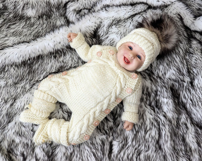 Hand Knitted overall, hat and booties, Baby home coming outfit, Cream baby outfit, Gender neutral newborn outfit, Newborn take home outfit