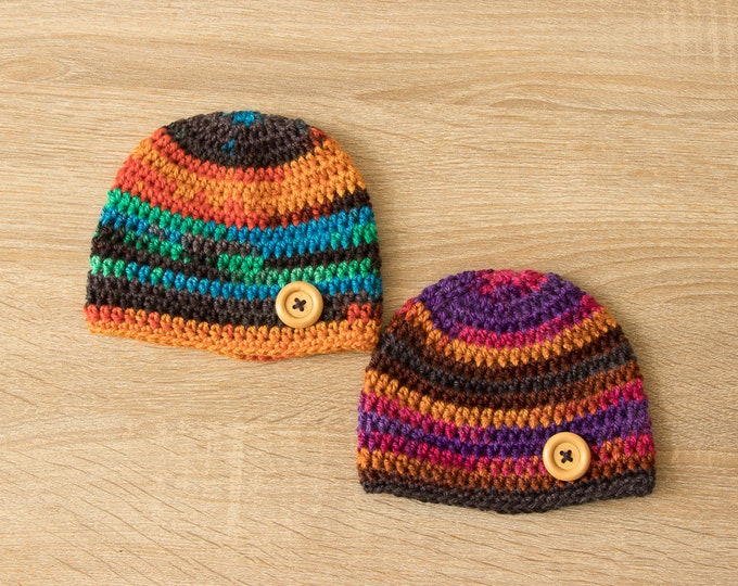 Ready to ship - Preemie hats for 5 to 6 lbs - Preemie twin hats - Twin hats - Colorful baby Hats - Twin photo prop - Twin Baby Gifts