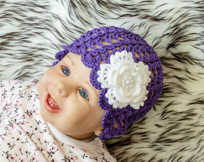 Baby girl Hat - Baby girl beanie - Flower hat - Crochet summer hat - Flower Beanie- Baby Summer hat- Violet hat- Girls hat- Toddler girl hat