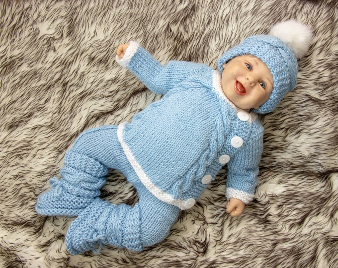 Baby boy home coming outfit - Hand knit layette - Knitted Baby Outfit - Hand knit baby clothes- Take home outfit- Newborn Coming Home Outfit